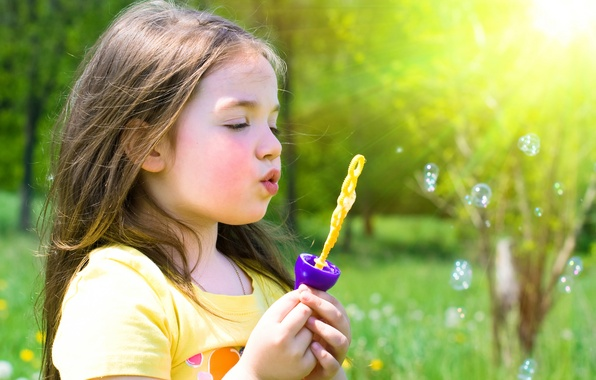 Picture grass, trees, flowers, nature, children, childhood, bubbles, child, spring, blonde, girl, bubbles, grass, trees, nature, …