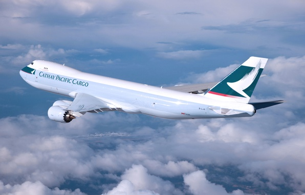 Picture Clouds, The plane, Wings, Boeing, Aviation, 747, In The Air, Flies, Cathay Pacific