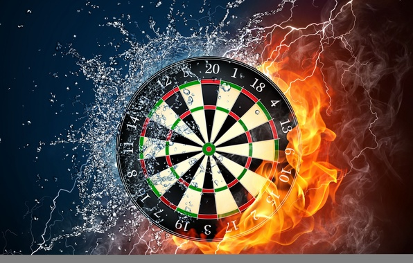 Picture water, drops, squirt, fire, flame, smoke, category, power, Darts, target, wallpaper., darts, elements