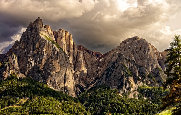 Picture forest, the sky, mountains, spring, Italy, The Dolomites, the Trentino — Alto Adige / südtirol