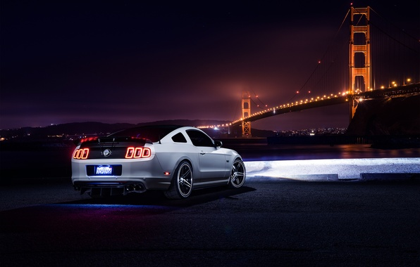Picture Mustang, Ford, Muscle, Car, Bridge, White, Collection, Aristo, Rear, Nigth