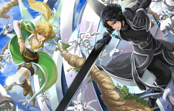 Photo Wallpaper Girl Weapons Art Battle Guy Sword Online