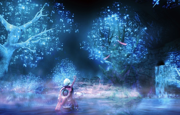 Picture water, trees, night, lake, weapons, waterfall, sword, anime, art, guy