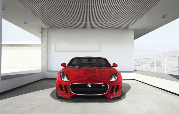 Picture Jaguar, Red, Jaguar, The hood, Lights, The front, F-type