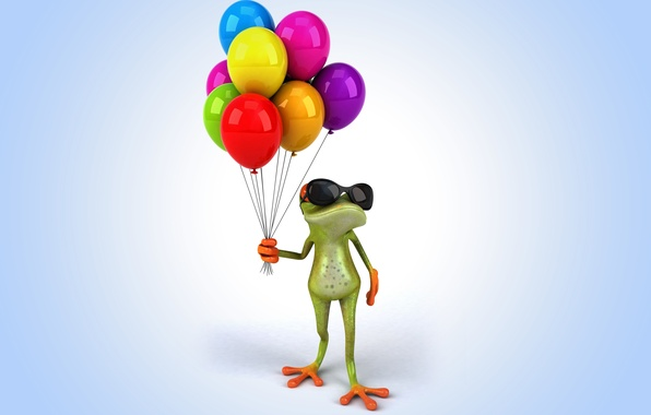Picture balloons, frog, frog, funny