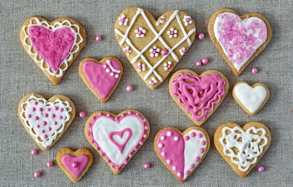 Picture holiday, cookies, hearts, love, pink, cakes, hearts, valentines, glaze, cookies, Valentines, glaze