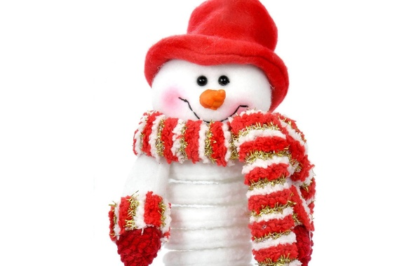 Picture red, holiday, hat, new year, scarf, snowman