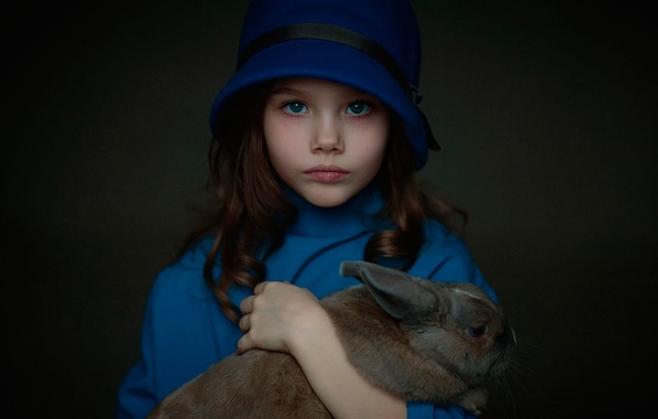 Picture childhood, rabbit, girl, Paulina, Oksana Tatse I, in blue