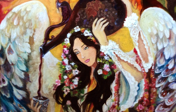 Picture look, girl, flowers, face, hair, wings, angel, hands, painting