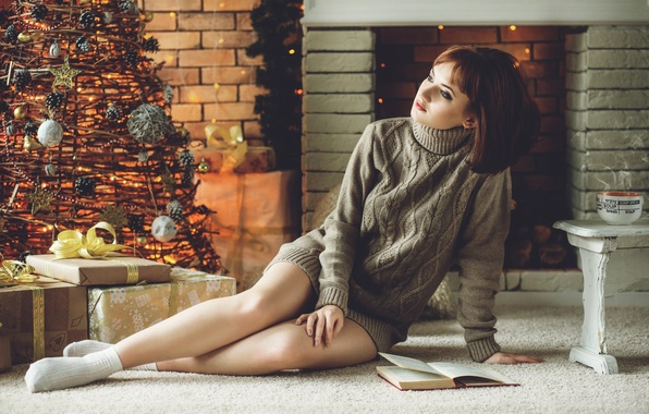 Picture girl, comfort, heat, tree, new year, Christmas, spruce, girl, fireplace, brown hair, legs, sweater