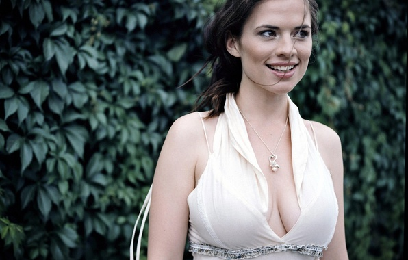 Picture smile, actress, pendant, neckline, Hayley Atwell, Hayley Atwell
