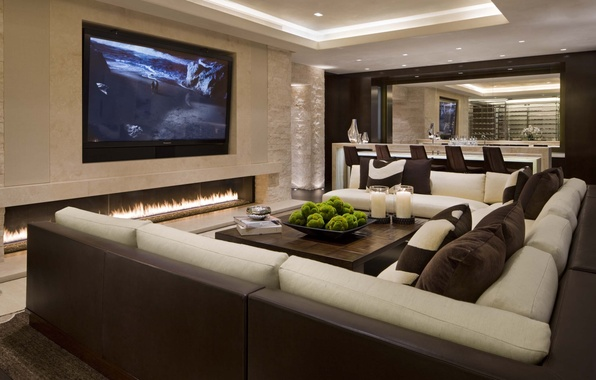 Picture design, style, sofa, pillow, candles, TV, fireplace, table, living room, interior, home, chair., desigen
