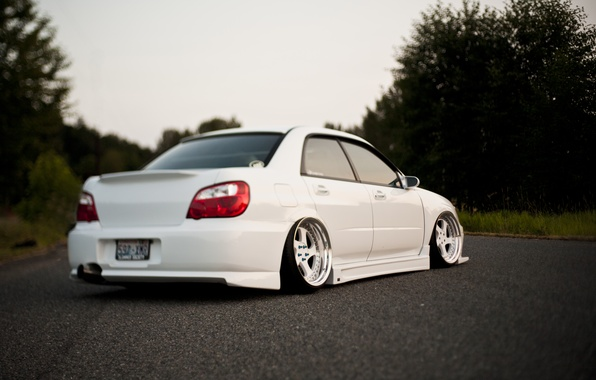 Picture tuning, white, subaru, impreza, Subaru, sti, Impreza, stance