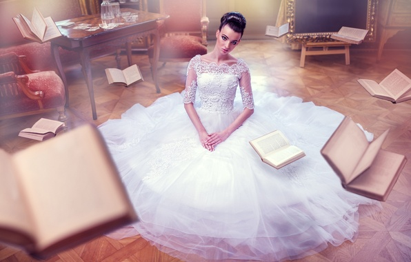 Picture dress, the bride, Life They Will Treat Guests, flying books