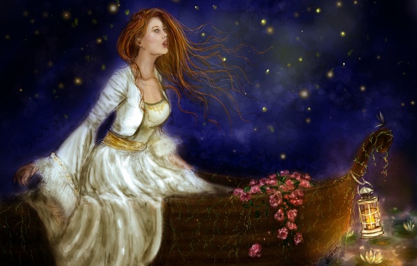 Picture the sky, look, girl, flowers, face, boat, hair, lights, dress, lantern, painting
