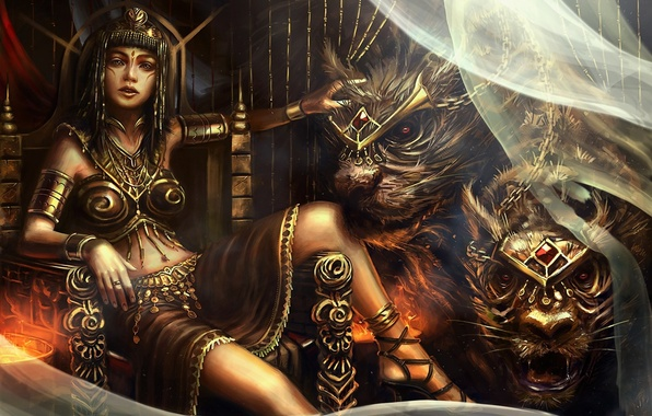Picture girl, decoration, cats, predators, art, monsters, wild, the throne, curtain, Queen, Bryan Sola