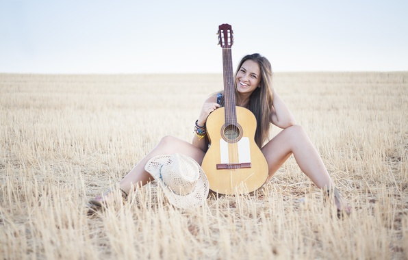 Picture field, girl, smile, music, mood, guitar