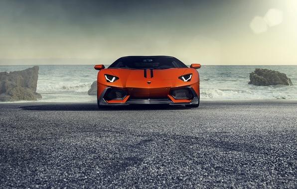 Picture Lamborghini, Orange, Front, Vorsteiner, Sun, Sea, Supercar, Zaragoza, Aventador-V, LP740-4