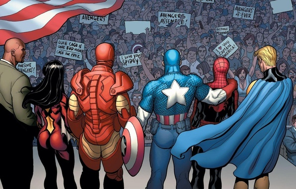 Picture the crowd, Iron Man, Captain America, Marvel Comics, Spider-Man, Spider-Woman, Sentry, Luke Cage