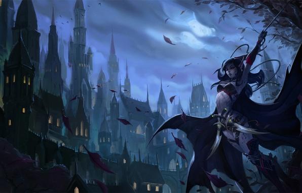Picture leaves, night, the city, weapons, elf, sword, art, reckoning, kingdoms of amalur, alyn shir, gorrem