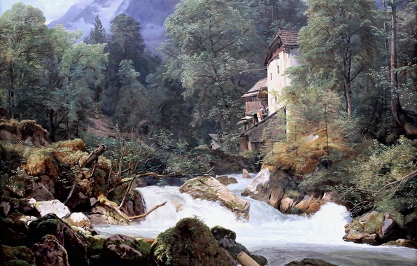 Picture picture, 1940, Ferdinand Georg Waldmuller, Ferdinand Georg Waldmüller, Austrian artist, Mill at the outflow of …