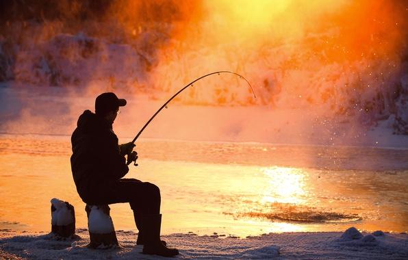 Picture ice, winter, man, fun, Fishing, fishing equipment