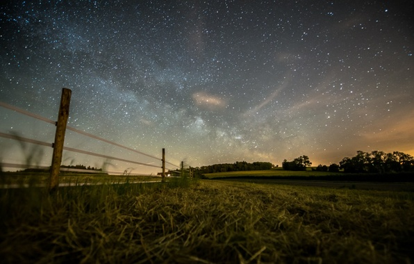 Picture field, forest, summer, the sky, stars, photo, the fence, the evening