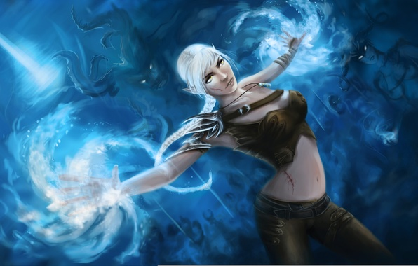 Picture girl, magic, art, elf, demons, Dragon Age, wounds