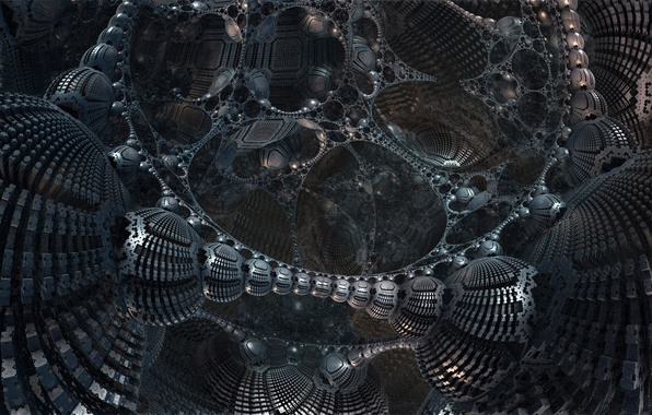 Picture metal, abstraction, fiction, design, structure, 3D fractal