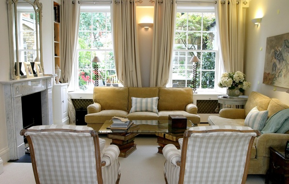 Picture design, sofa, interior, chair, window, fireplace
