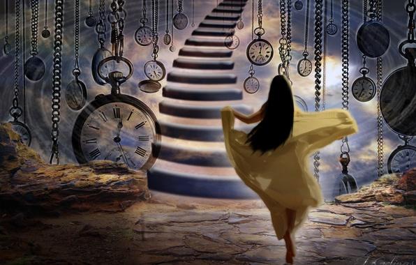 Picture girl, time, watch, ladder, runs, long hair, hurry, Jennifer Gelinas