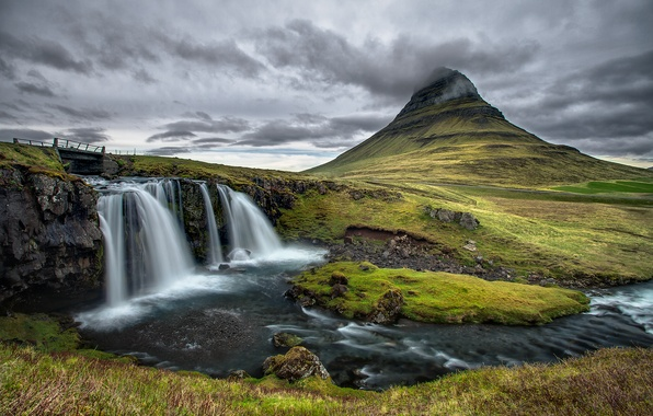 Picture the sky, clouds, bridge, river, stones, mountain, waterfall, Iceland, Kirkjufell