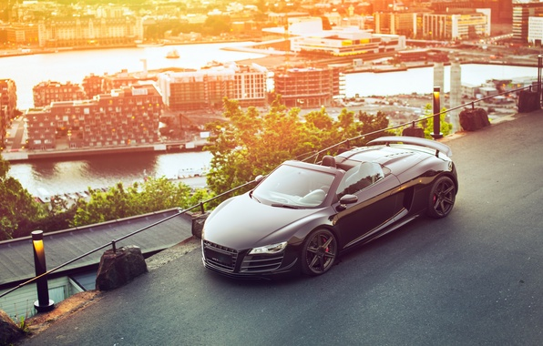 Picture car, the city, Audi R8, GT Spyder