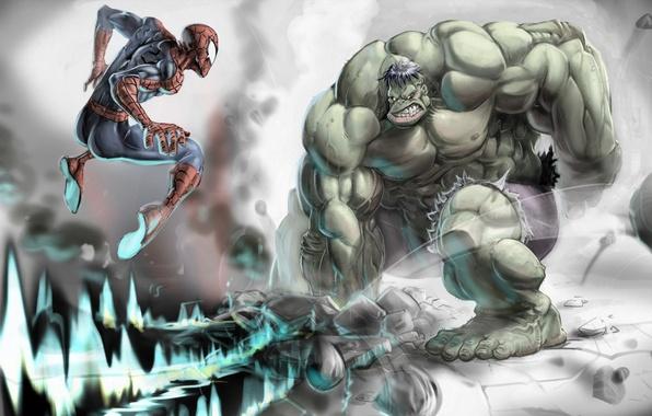 Picture stones, jump, wave, Hulk, Hulk, fist, Spider-man, Spider-man