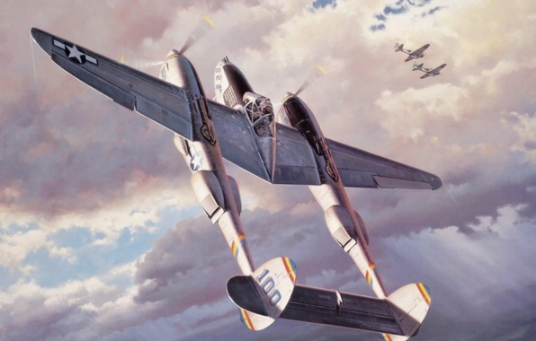 Picture fighter, war, art, airplane, painting, aviation, ww2, p 38 lightning