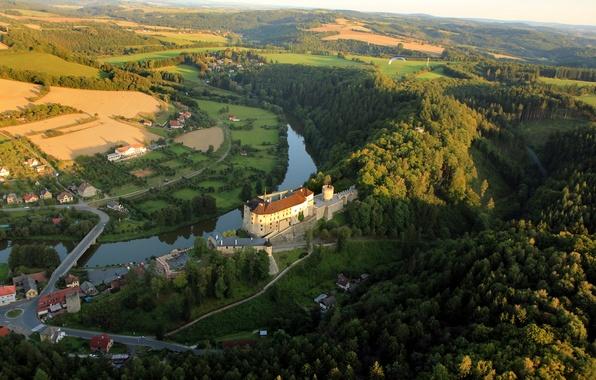 Picture forest, mountains, bridge, nature, river, castle, home, Czech Republic, The Czech Republic, republic, summer.