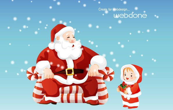 Picture winter, snow, childhood, gift, new year, Christmas, tale, Santa Claus