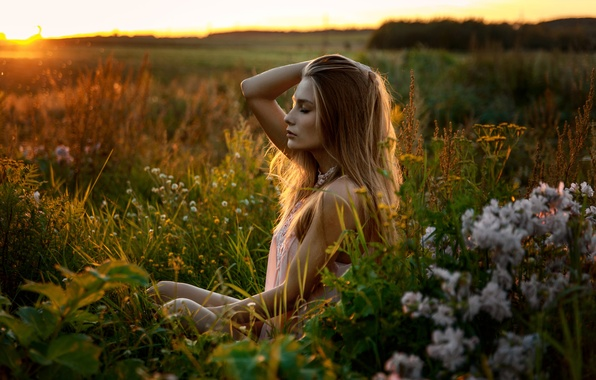 Picture field, summer, grass, girl, sunset, ideal, sweetheart, model, Victoria, relax, light, beautiful, the beauty, sitting, …