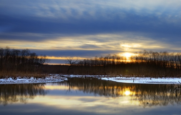 Picture the sky, snow, trees, sunset, reflection, river, shore, Winter, the evening, blue
