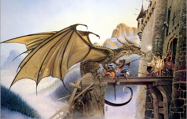 Picture mountains, fantasy, dragon, war, fortress, defense, Chris Achilleos, Dragonspell