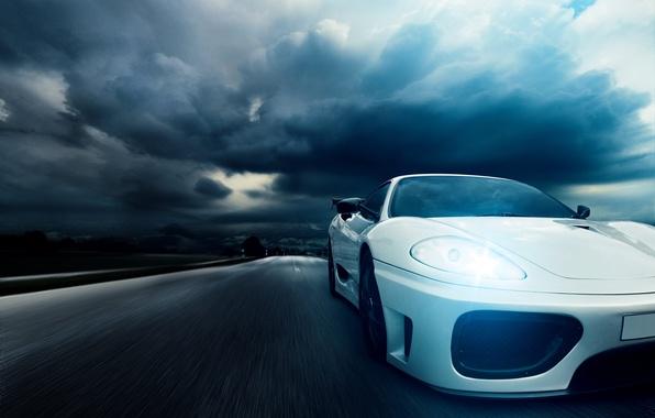Picture night, speed, highway, Ferrari, white, 360, front