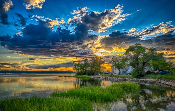 Picture the sky, trees, sunset, clouds, lake, house