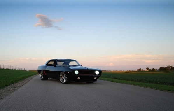 Picture road, the sky, black, tuning, coupe, Chevrolet, 1969, Camaro, Chevrolet, Camaro, tuning, the front, roundup, …