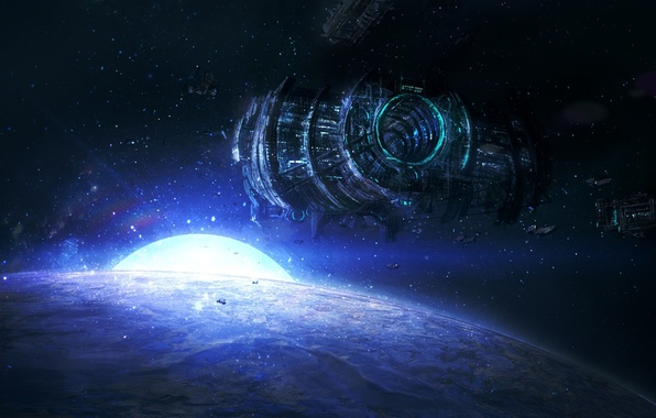 Picture space, stars, planet, ships, art