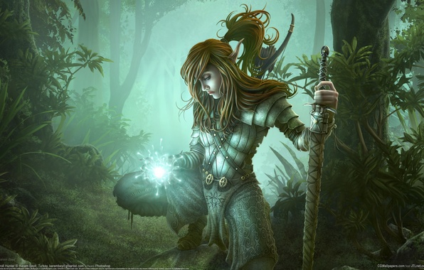 Picture forest, magic, elf, sword, Kerem Couplets