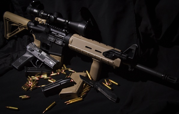 Picture gun, weapons, knife, AR-15, assault rifle, CZ P-07