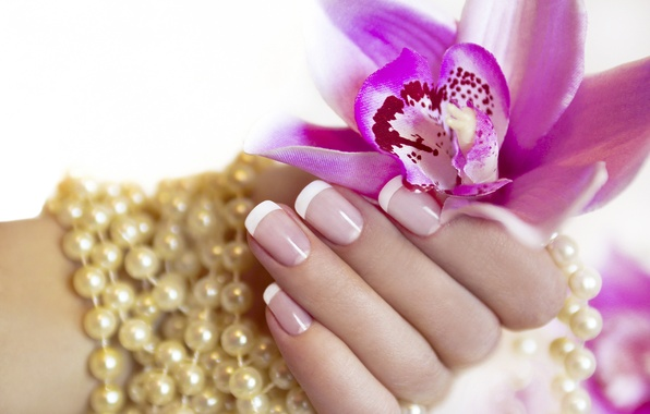 Picture flower, hand, pearl, fingers, manicure