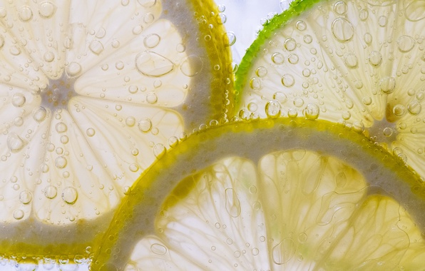 Picture bubbles, lemon, food, liquid, slice, lime