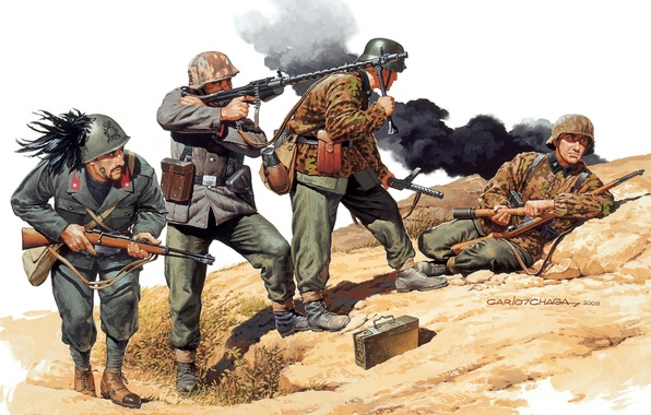 Picture weapons, figure, art, soldiers, camouflage, rifle, machine gun, ammunition, machines, The second world war, Yugoslavia, …