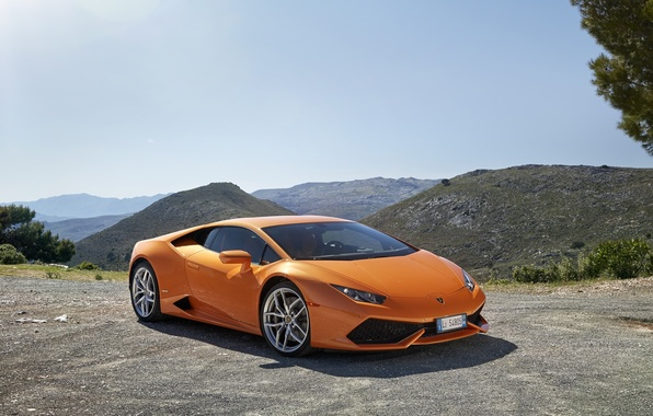 Picture mountains, orange, Lamborghini, Huracan, LP 610